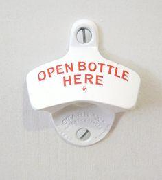 Wall Mounted Bottle Opener - White