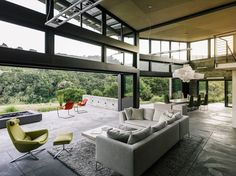 Butterfly House by Feldman Architecture, Santa Lucia Preserve house, eco-friendly butterly house, Butterfly roof architecture, artful rainwater design,