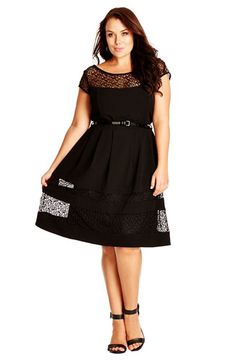 Free shipping and returns on City Chic Fit & Flare Dress with Delicate Lace Insets at Nordstrom.com. The peekaboo sheerness of the scribble-patterned lace at the yoke and lower skirt amps up the flirt factor of this charming LBD. The waist-whittling silhouette is accentuated with a slim patent belt.