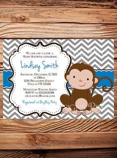 Monkey Baby shower Invitation Little Monkey by StellarDesignsPro, $20.00