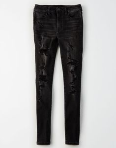 Ripped Knee Jeans, Ripped Knees, Ae Jeans, Skinny Jeans, Cool Outfits, Fashion Outfits, New Pant, Black Skinnies, Black Pants