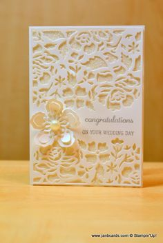 25 + › JanB Handmade Cards Atelier: Simple Glimmer Wedding Card & Michelle Kelly & … – The Best Ideas Wedding Shower Cards, Card Wedding, Karten Diy, Engagement Cards, Stamping Up Cards, Congratulations Card, Greeting Cards Handmade, Wedding Cards Handmade, Flower Cards