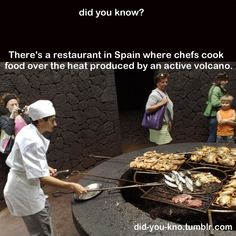 Restaurant in Spain cooks food over the heat of an active volcano.