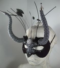 Black Horned Masquerade Mask//Masquerade Ball by leopardsleap