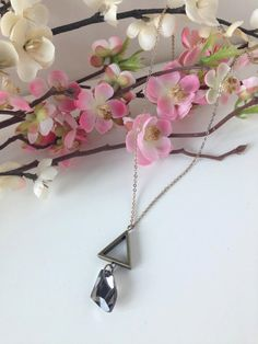 TRÉS Necklace = Triangle Crystal Pendant / Modern Geometric Jewelry / Upcycled Vintage Inspired - A perfect gift for Bride Bridesmaid Friend by MaisonMagnolia on Etsy