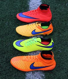 The Intense Heat Pack from Nike Soccer. I have the shoes that are solid yellow with a purple Nike sign. Nike Football Boots, Nike Boots, Soccer Boots, Football Cleats, Soccer Gear, Play Soccer, Nike Soccer, Souliers Nike, Nike Cleats