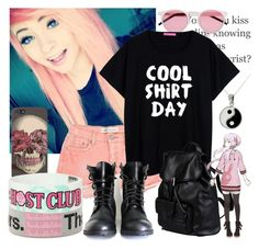 """""""Cool Shirt Day"""" by natsuko-yuuki ❤ liked on Polyvore featuring Carolina Glamour Collection, Illesteva and Doucal's"""