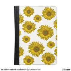 Yellow Scattered #Sunflowers #iPad Air Folio #Case Protect your electronic device with the pretty Yellow Scattered Sunflowers Folio Case. This cute cover features yellow sunflower blossoms with a white background. It makes a great floral gift idea for a flower lover, gardener or florist.