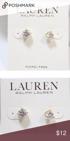 Lauren Ralph Lauren CZ earrings You are looking at a pair of Lauren Ralph Lauren Gold Tone Cubic Zirconia Post Earrings The item is on card in very good condition.  They are about 6.5mm in diameter.   They retail for $36. Jewelry Earrings