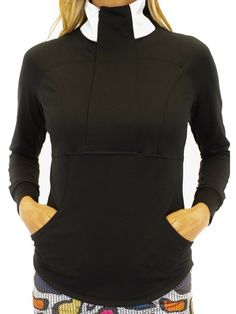 If you're in the market for some new outfits, consider our women's apparel! Shop this comfortable and stylish Black Golftini Ladies Contrast Quarter Zip Golf Pullover from Lori's Golf Shoppe.