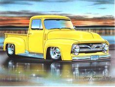 1953 Ford Pickup Hot Rod Truck Art Print w/ Color Options Hot Rod Pickup, Old Pickup Trucks, Hot Rod Trucks, Ford Motor Company, Maserati, Ferrari 458, Congo, 1953 Ford F100, Audi