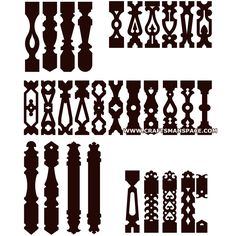 Sawn baluster patterns Stencil Patterns, Wood Patterns, Craft Patterns, Stencil Templates, Embroidery Patterns, Hand Embroidery, Victorian Porch, Victorian Homes, Porch Balusters