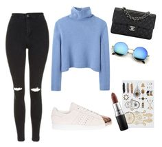 """""""Quikone """" by gizzx ❤ liked on Polyvore featuring The Row, Topshop, Chanel, adidas and MAC Cosmetics"""