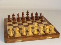 16 in. Inlaid Wood Folding Chess Set