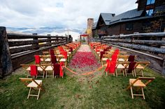 The wedding experts at The Ritz-Carlton, Bachelor Gulch recommend dressing a spring wedding in red and gold to contrast with the natural colors of the mountain scenery. Outdoor Wedding Venues, Outdoor Furniture Sets, Outdoor Decor, Natural Colors, Hotels And Resorts, Spring Wedding, Avon, Colorado, Contrast