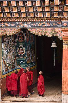 novice buddhist monks, bhutan