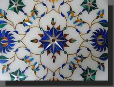 """INDIA: Interior walls of the Taj Mahal. Exquisite """"Pietra Dura"""" stone Inlay-work on Marble with Semi-precious Gems-stones. Mughal Architecture, Art And Architecture, Arabesque, Ancient Indian History, Zentangle, Deco Boheme, Motif Floral, Mosaic Glass, Marble Mosaic"""
