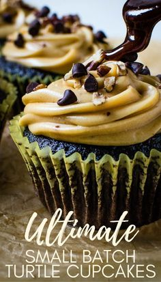 If you love moist dark chocolate cupcakes with a creamy caramel frosting, this ultimate recipe is for you. This small batch recipe makes about 6 cakes. The homemade caramel sauce flavors the buttercream frosting and gets drizzled on top with extra chocolate chips and chopped toasted pecans. #turtlecake #cupcakes Easy Homemade Recipes, Pecan Recipes, Baking Recipes, Baking Ideas, Beef Recipes, Dark Chocolate Cupcakes, Chocolate Dipped Fruit, Chocolate Chips, Chocolate Recipes
