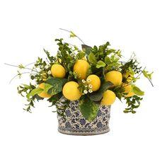 Spring Flower Arrangements, Floral Arrangements, Lemon Centerpieces, Kitchen Table Centerpieces, Lemon Kitchen Decor, Lemon Flowers, White Planters, Artificial Silk Flowers, Arte Floral