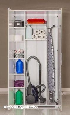 Ideas For Utility Closet Storage Ideas Utility Room Storage, Utility Closet, Kitchen Cabinet Organization, Closet Storage, Home Organization, Organizing Ideas, Kitchen Cabinets, Kitchen Pantry, Kitchen Utility Cabinet