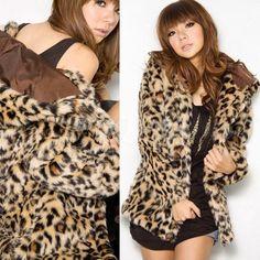 Sexy Women Leopard Faux Fur Coat Jacket Outerwear