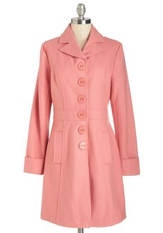 Verdant Virtues Coat in Pink. Glimpse the value of vibrant color by donning this rosy-pink collared coat by Tulle Clothing! #pink #modcloth