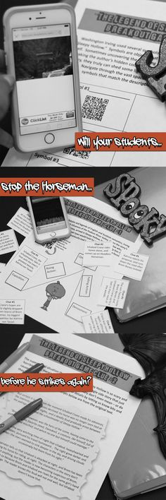 The Legend of Sleepy Hollow Breakout Escape Game, Halloween activity lesson for high school or middle school English