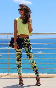 No. 17 || PalmbEach: black sunnies, green grass blouse, black purse, palm floral leggings-kind jeans and black sandals