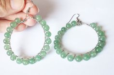 Check out this item in my Etsy shop https://www.etsy.com/listing/241985367/green-aventurine-large-hoop-earrings