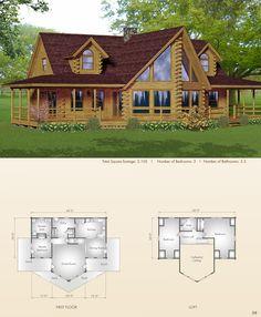 Big Twig Homes presents: Plantation Floor Plan Log Cabin House Plans, Log Cabin Living, Log Home Floor Plans, Log Cabin Homes, Log Cabins, Log Home Bedroom, Bedroom House Plans, Log Home Builders, Dreams