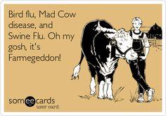 Bird flu, Mad Cow disease, and Swine Flu. Oh my gosh, it's Farmegeddon!
