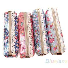 Fashion Mini Retro Flower Floral Lace Pencil Shape Pen Case Cosmetic Makeup Make Up Bag Zipper Pouch Purse
