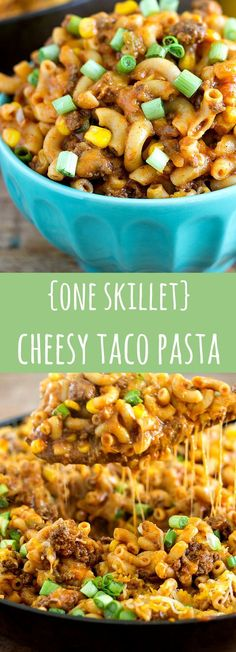 A super easy and quick dinner — one skillet cheesy taco pasta - Tacos Ideen Casserole Recipes, Pasta Recipes, Cooking Recipes, Ground Beef Recipes, One Pot Meals, How To Cook Pasta, Pasta Dishes, Pasta Food, Quick Meals