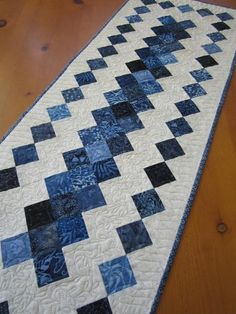 Quilted Table Runner in Blue Batik – Patchwork Mountain Patchwork Table Runner, Table Runner And Placemats, Table Runner Pattern, Quilted Table Runners, Table Topper Patterns, Quilted Table Toppers, Lap Quilts, Panel Quilts, Batik Quilts