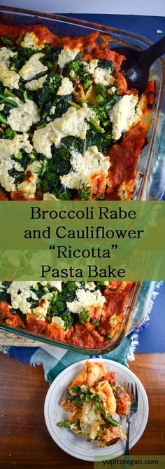 Baked broccoli rabe and cauliflower stuffed shells - a hearty vegan pasta bake that's packed with veggies and flavor. Veggie Recipes, Whole Food Recipes, Vegetarian Recipes, Pasta Recipes, Vegan Foods, Vegan Dishes, Vegan Pasta Bake, Spicy Pasta, Delicious Vegan Recipes