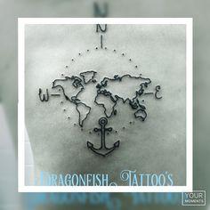 Earth compass tattoo