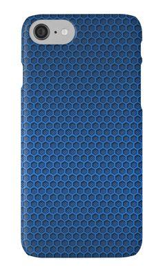 Metallic Blue Graphite Honeycomb Carbon Fiber iPhone Cases & Skins