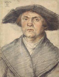 Male Portrait with overgown and wide-brimmed hat, 1522 by Wolf Huber 16th Century Fashion, 18th Century, Städel Museum, Die Renaissance, Landsknecht, Wide Brimmed Hats, Portrait Sketches, Old Master, Wolf