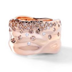 PINK CHAMPAGNE BUBBLES - Flawless Pink Champagne Diamonds 18K Rose Gold Ring