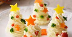 口溶けなめらかなマッシュポテトをソフトクリームのように絞り出してカラフル野菜を盛りつけ。かわいくて子どもも大喜び♪