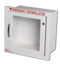 """Surface-mount, with alarm Color: white Standard Size - fits most AEDs 13"""" x 13.5"""" x 7""""  Use key to turn alarm function on/off   Also available as recessed and semi-recessed: If interested in these options, call for pricing and to order - 888-748-0004"""