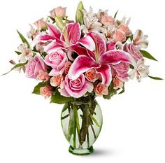 Stargazer Lily and Roses Vase ~ Purple Iris Flower Shop - NJ