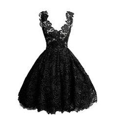 CLOCOLOR robe courte en dentelle de bal A-ligne col en V