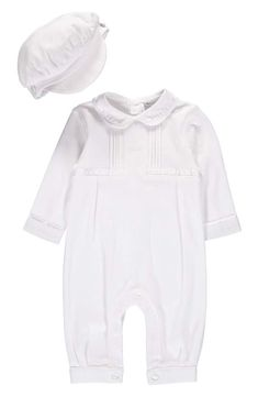 e29b5eb46 Carriage Boutique Cross Embroidered Christening Romper & Newsboy Cap Set (Baby  Boys) | Nordstrom