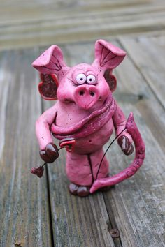 Cupid Pig Valentine Polymer Clay Sculpture by mirandascritters, www.mirandascritters.etsy.com and www.facebook.com/mirandascritters