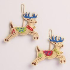 Embroidered Fabric Reindeer Ornaments, Set of 2   World Market