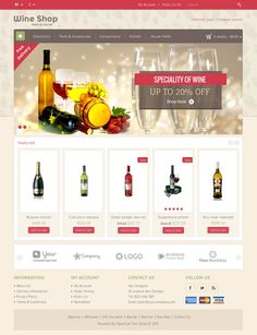 Wine Shop OpenCart Theme is specially wine, drink, food and restaurant store. Great colors combination. All sub pages are customized. It is very nice with its clean and professional look. http://www.templatemela.com/wine-shop-opencart-theme.html