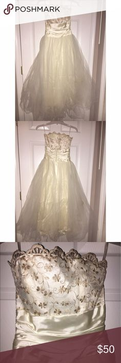 Tea length formal dress Jessica McClintock tulle tea length dress. Worn once. Jessica McClintock Dresses Strapless