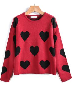 Red Long Sleeve Heart Print Knit Sweater 23.33