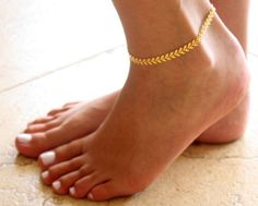 Gold Anklet - Gold Ankle Bracelet - Arrow Anklet - Foot Jewelry - Foot Bracelet…